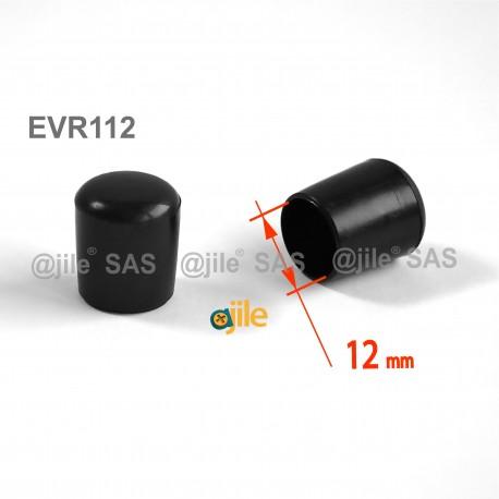 Embout enveloppant rond diam. 12 mm Plastique NOIR - Ajile