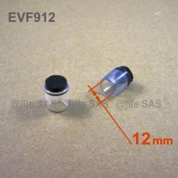 Puntale Calzante di diam. 12 mm - Trasparente con feltro per mobili.