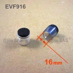 Puntale Calzante di diam. 16 mm - Trasparente con feltro di protezzione.