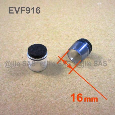 Embout Rond Diam 16 Mm Anti Bruit Enveloppant Plastique Transparent Feutre Pour Pied De Chaise