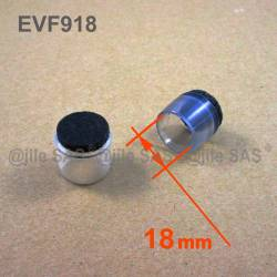 Puntale Calzante di diam. 18 mm - Trasparente con feltro per parquet.