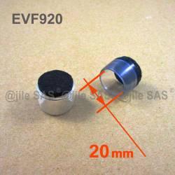20 mm Durchm. Fusskappen - Durchsichtig - Stuhlsocken mit Filz für Holzschutz.
