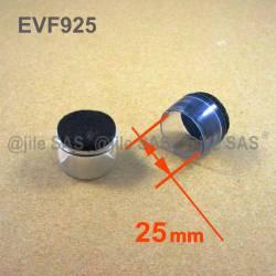 Puntale Calzante di diam. 25 mm - Trasparente con feltro di protezzione antirumore.