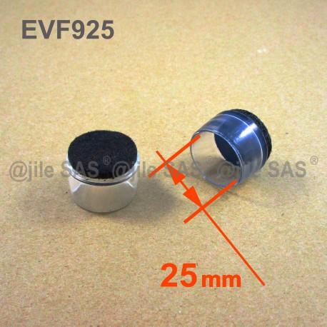 Embout rond diam. 10 mm coiffant glisseur en plastique transparent feutre  pour pied de chaise-meuble