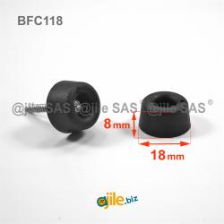 Pied / butée cônique 18 x 8 mm à visser / riveter en plastique NOIR