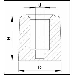 Tall 22 mm diam. screw-on rubber bumper BLACK - Ajile