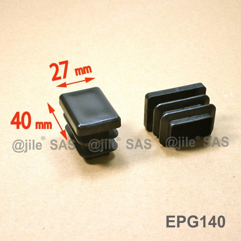 Embout rectangulaire à ailettes 40 x 27 mm Plastique NOIR - Ajile
