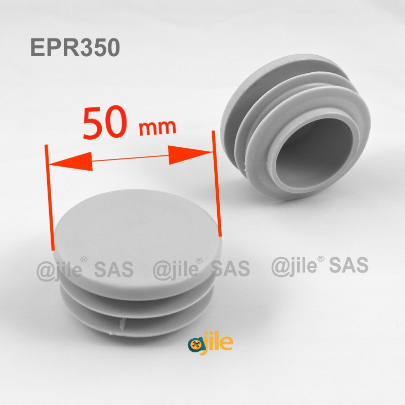 Round ribbed insert for tubes diam. 50 mm GREY plastic - Ajile