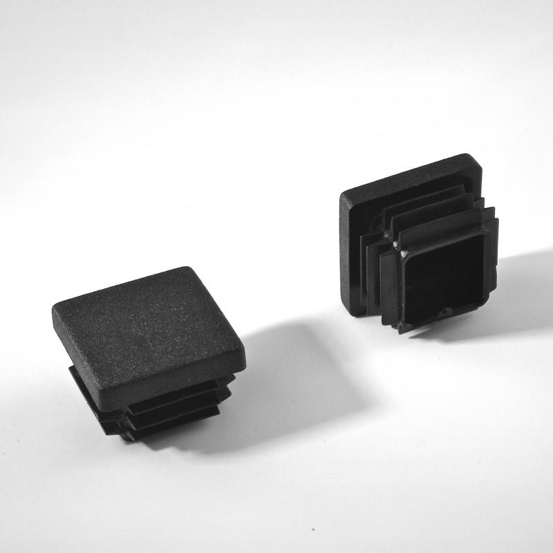 Embout carré à ailettes 25 x 25 mm Plastique NOIR - Ajile