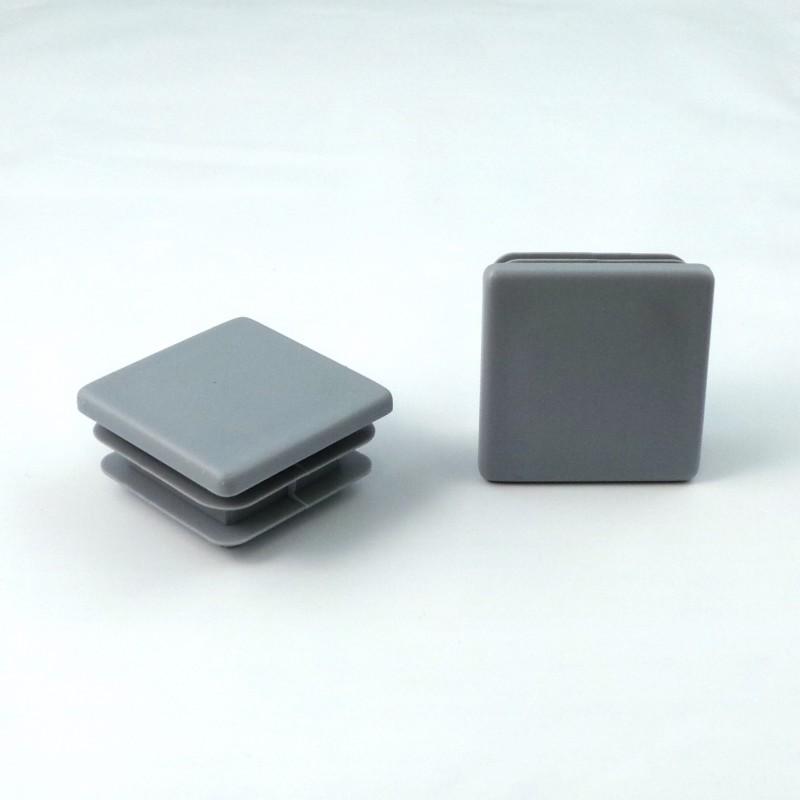 Embout carré à ailettes 50 x 50 mm Plastique GRIS - Ajile