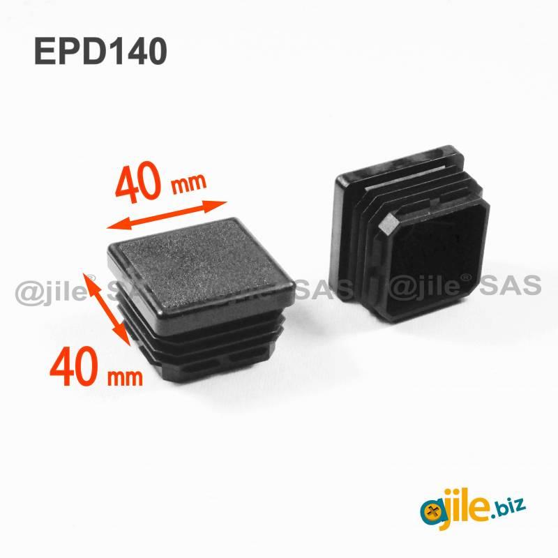 ajile NOIR 4 pi/èces Embout /à lamelles carr/é pour tubes 60 x 60 mm