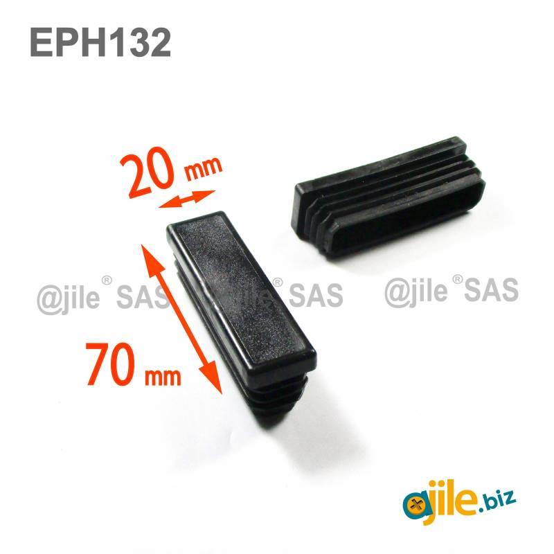 Embout Rectangulaire NOIR pour tube de dimension 70x20 mm et d'épaisseur 1,0-2,5 mm - Ajile