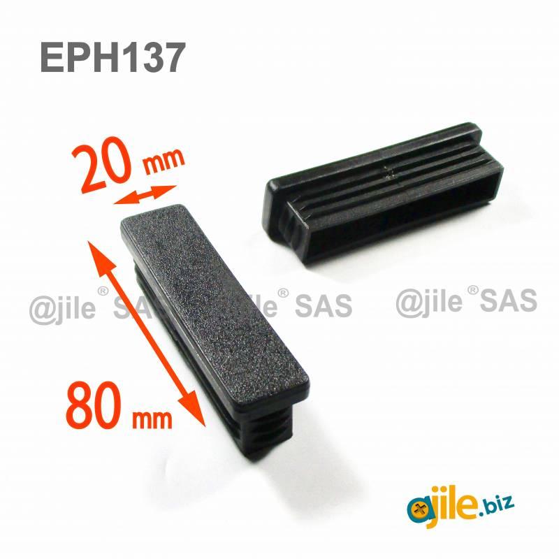 Embout Rectangulaire NOIR pour tube de dimension 80x20 mm et d'épaisseur 1,0-4,0 mm - Ajile