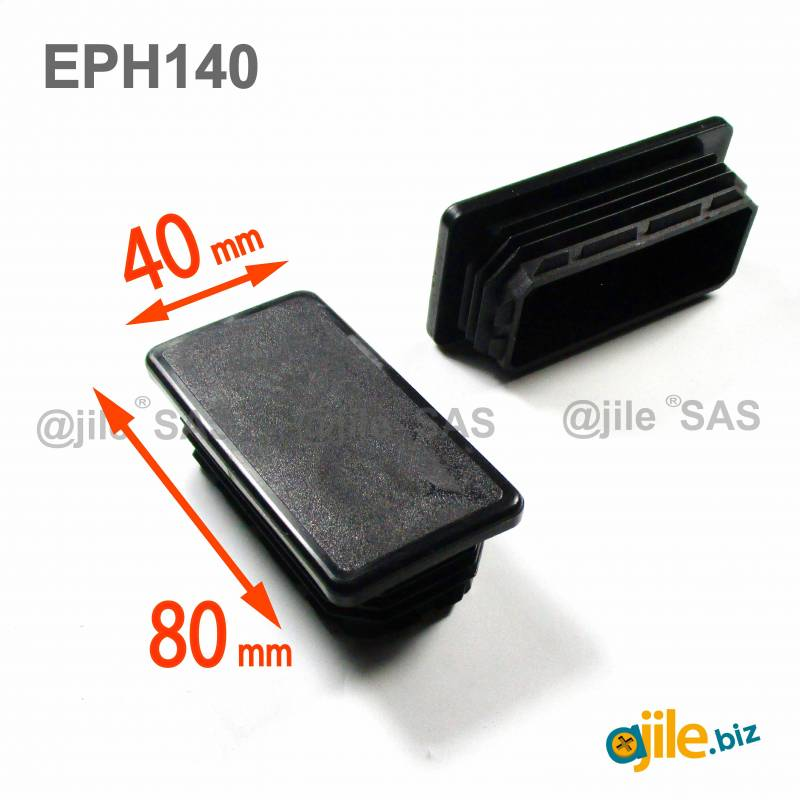 Rectangular Plastic Insert for 80x40 mm Tube Dimension and 3,0-5,0 mm Thickness BLACK - Ajile