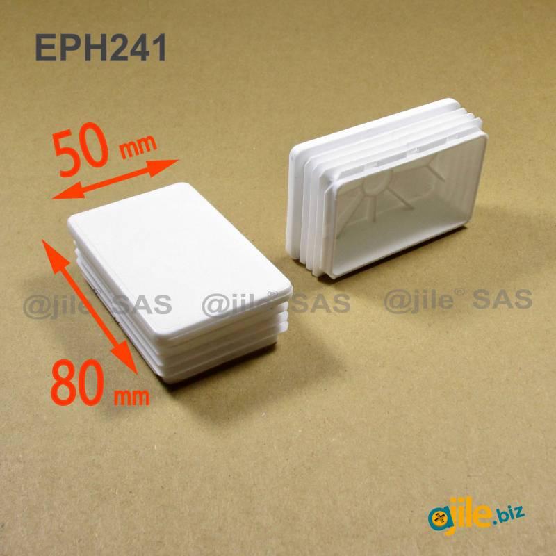 Embout Rectangulaire BLANC pour tube de dimension 80x50 mm et d'épaisseur 1,0-2,5 mm - Ajile
