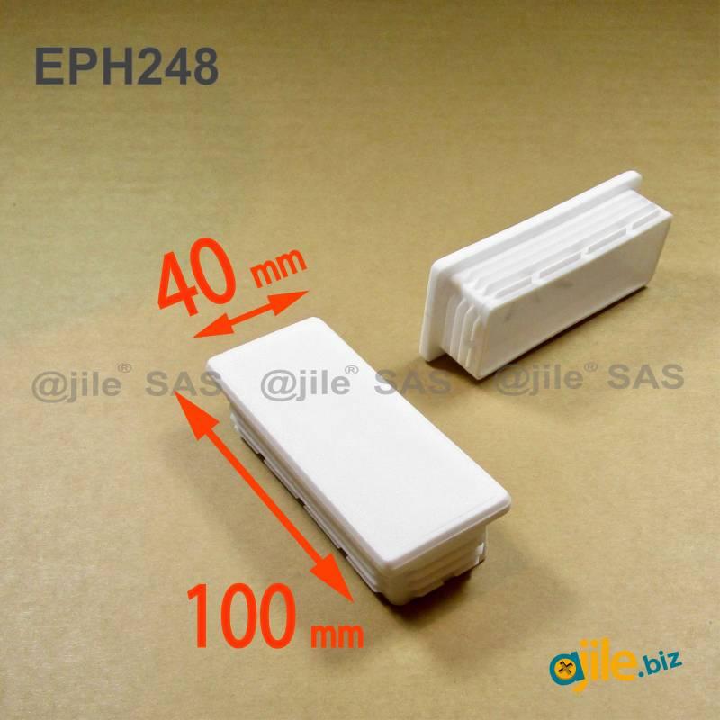 Kunststoff Lamellen-Stopfen für Rechteckrohre mit 100x40 mm Aussenmass und 1,0-3,0 mm Dicke - WEISS - Ajile