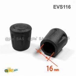 Embout Enveloppant Renforcé Caoutchouc Vulcanisé NOIR pour pied - tube de diamètre 16 mm - Ajile