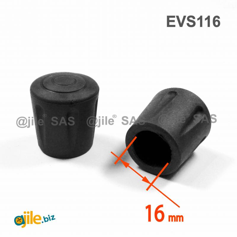Heavy Duty Ferrule made from Vulcanized Rubber for 16 mm Diameter Furniture Tube/Feet BLACK - Ajile