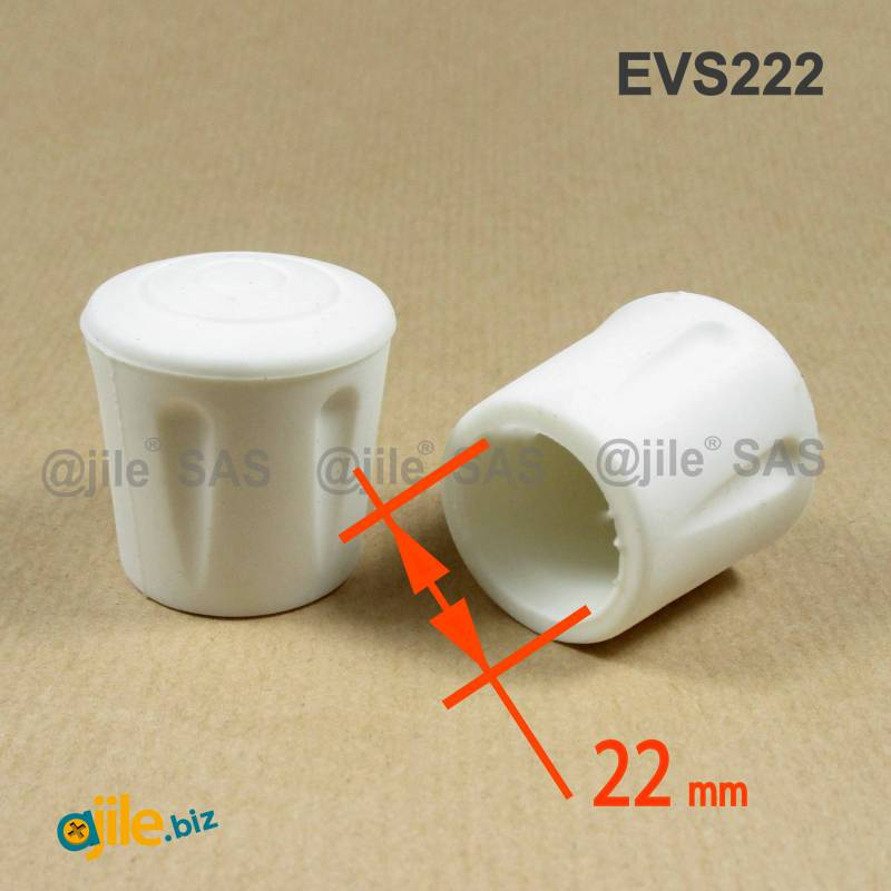 Heavy Duty Ferrule made from Vulcanized Rubber for 22 mm Diameter Furniture  Tube/Feet WHITE - Round Rubber White - round f