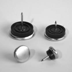 30 mm diam. Nagelgleiter mit Stahl vernickelte Gleitfläche - Kunststofpuffer - Ajile 2