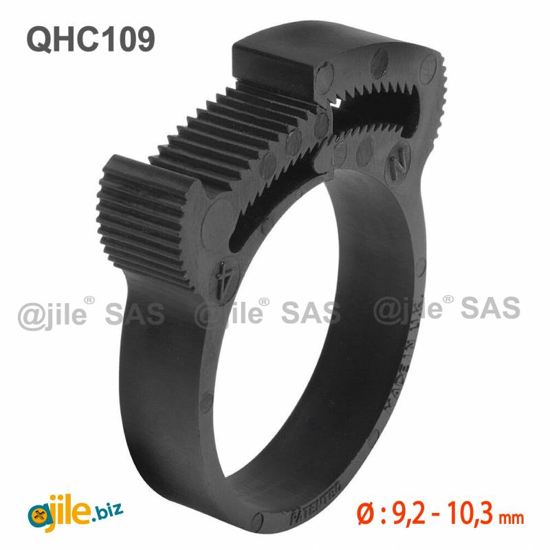 Plastic Snap Fit Hose Clamp for Cables, Pipes, Hoses and Tubes Diameter 9,2-10,3 mm - Ajile