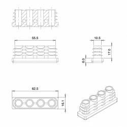 Embout Rectangulaire NOIR pour tube de dimension 60x15 mm et d'épaisseur 1,0-3,0 mm - Ajile