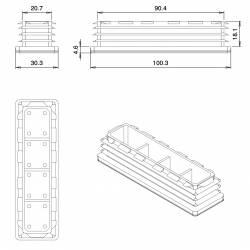 Embout Rectangulaire NOIR pour tube de dimension 100x30 mm et d'épaisseur 1,0-4,0 mm - Ajile