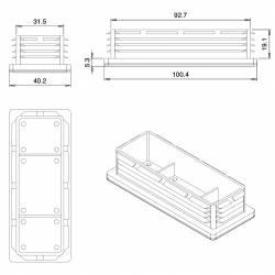 Embout Rectangulaire NOIR pour tube de dimension 100x40 mm et d'épaisseur 1,0-3,0 mm - Ajile