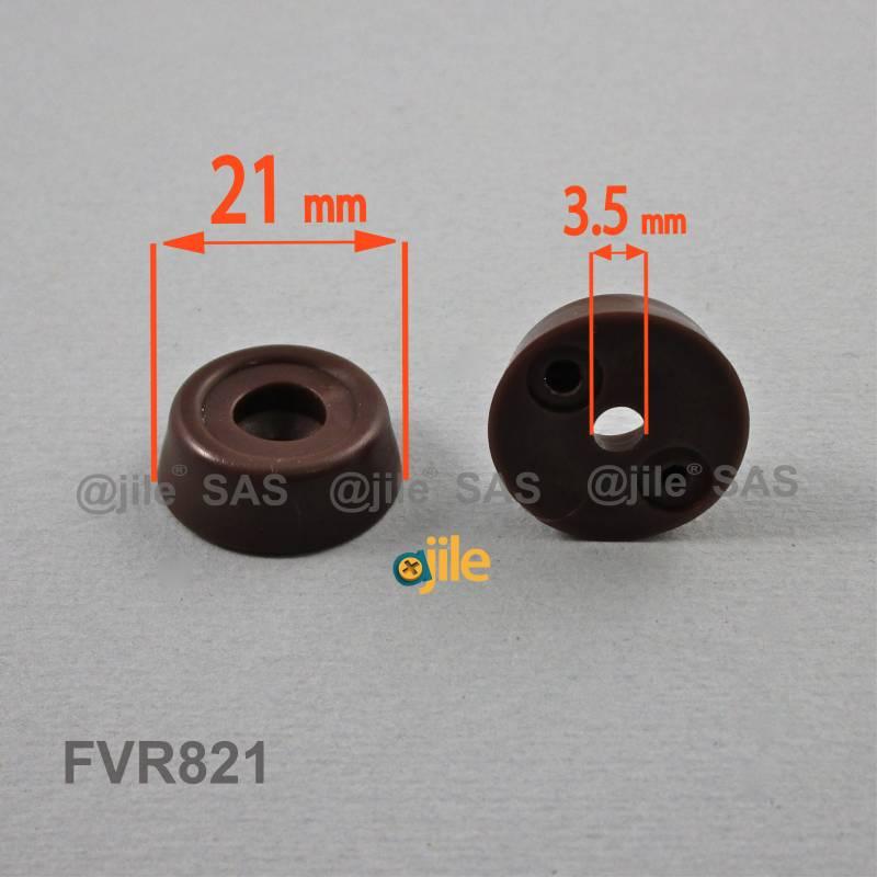 Pied / patin diam. 21 mm en plastique à visser / riveter BRUN - Ajile