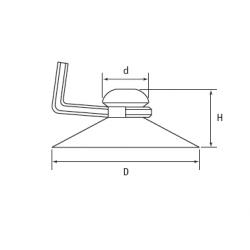 Ventouse à crochet métalique diam. 22 mm - Ajile