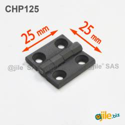Charnière plastique 25x25x3 mm polyamide noir - Ajile