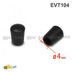 Embout Enveloppant Caoutchouc Thermoplastique Flexible NOIR  pour Tube de Diamètre 4 mm