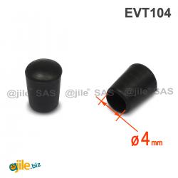 Thermoplastische Kunststoff Fußkappe aus Elastischem SCHWARZEM Gummi für Rohrfüße - Rohrdurchmesser 4 mm