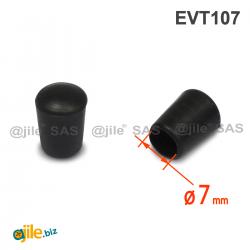 Thermoplastische Kunststoff Fußkappe aus Elastischem SCHWARZEM Gummi für Rohrfüße - Rohrdurchmesser 7 mm