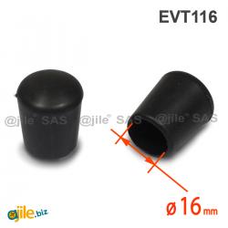 Thermoplastische Kunststoff Fußkappe aus Elastischem SCHWARZEM Gummi für Rohrfüße - Rohrdurchmesser 16 mm