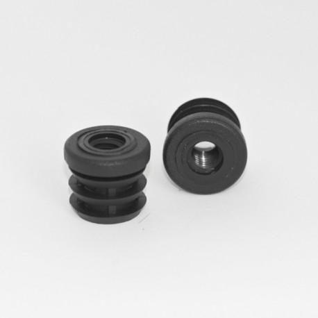 Embout plastique rond pour tube de diamètre 22 mm avec trou fileté diam. 8 mm (M8) - Ajile