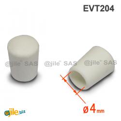 Thermoplastische Kunststoff Fußkappe aus Elastischem WEISSEM Gummi für Rohrfüße - Rohrdurchmesser 4 mm