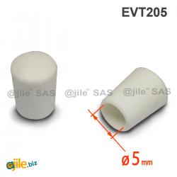 Thermoplastische Kunststoff Fußkappe aus Elastischem WEISSEM Gummi für Rohrfüße - Rohrdurchmesser 5 mm