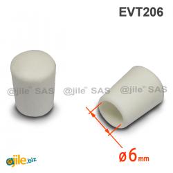 Thermoplastische Kunststoff Fußkappe aus Elastischem WEISSEM Gummi für Rohrfüße - Rohrdurchmesser 6 mm
