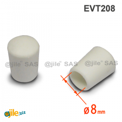 Embout Enveloppant Caoutchouc Thermoplastique Flexible BLANC  pour Tube de Diamètre 8 mm