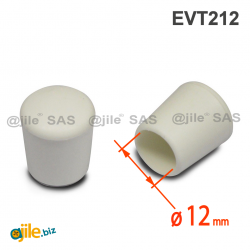 Thermoplastische Kunststoff Fußkappe aus Elastischem WEISSEM Gummi für Rohrfüße - Rohrdurchmesser 12 mm