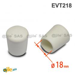 Thermoplastische Kunststoff Fußkappe aus Elastischem WEISSEM Gummi für Rohrfüße - Rohrdurchmesser 18 mm