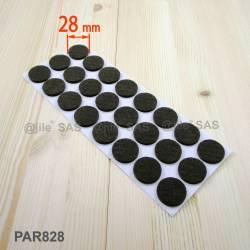 Patin feutre diamètre 28 mm  de protection BRUN - plaque de 24 patins de protection à coller