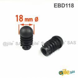 Anti-Skid Round Semispherical Ribbed Insert BLACK diameter 18 mm