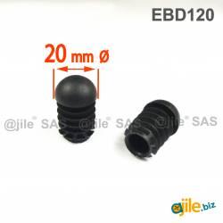 Anti-Skid Round Semispherical Ribbed Insert BLACK diameter 20 mm