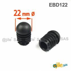 Anti-Skid Round Semispherical Ribbed Insert BLACK diameter 22 mm