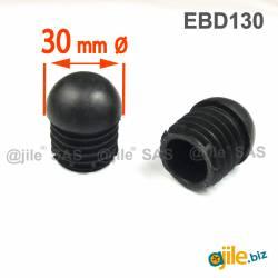 Embout Rond Bombé Antidérapant NOIR diamètre 30 mm