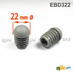 Embout Rond Bombé Antidérapant GRIS diamètre 22 mm
