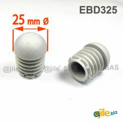 Embout Rond Bombé Antidérapant GRIS diamètre 25 mm