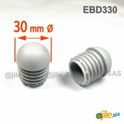 Embout Rond Bombé Antidérapant GRIS diamètre 30 mm